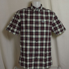 overhemd fred perry check short m1577-799 mahogany