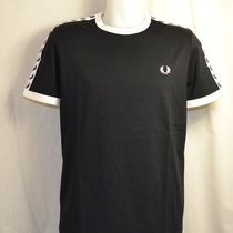 fred perry t-shirt taped m347-220 zwart