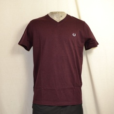 fred perry t-shirt v neck mahogany m6717-c70