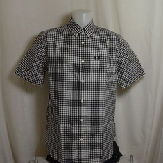 overhemd fred perry gingham zwart wit m9604-102