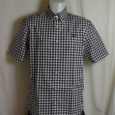 overhemd fred perry gingham m8569-100 zwart wit