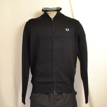 fred perry classic cotton zip cardigan zwart