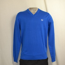 classic cotton v neck sweater blauw k8260