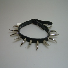 halsband leer 1 rij claw rond groot
