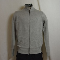 fred perry classic cotton zip cardigan grijs