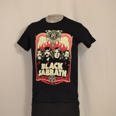 t-shirt black sabbath red flames