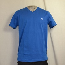 fred perry t-shirt v neck blauw m6717-b23